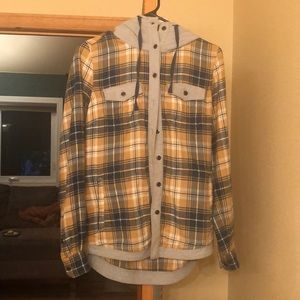 Blue and Yellow hooded flannel